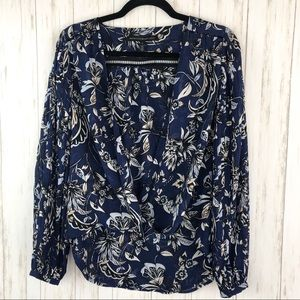 White House Black Market blue floral blouse
